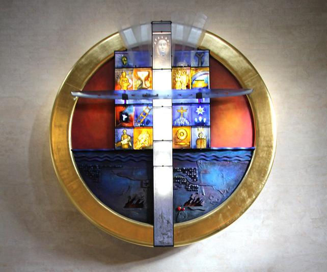 Brännkyrka kyrka altartavla - Livsresan av Bertil Vallien