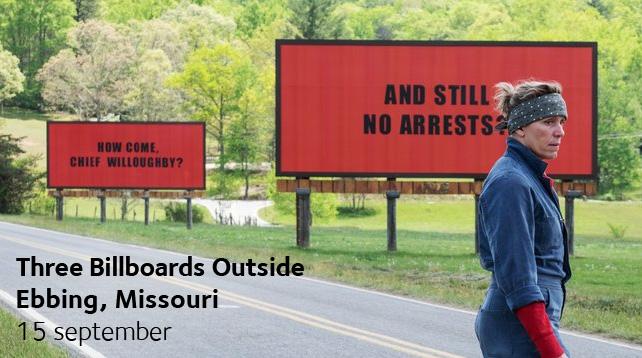 Eftermiddagsbio i Vårfrukyrkan - Three Billboards Outside Ebbing, Missouri