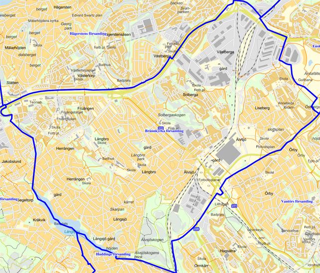 Karta över Brännkyrka församling
