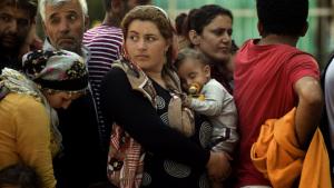 Syriska flyktingar och migranter köar för registrering i Presevo i Serbien.